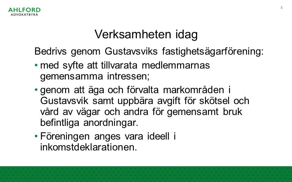 Verksamheten idag Bedrivs genom Gustavsviks fastighetsägarförening: