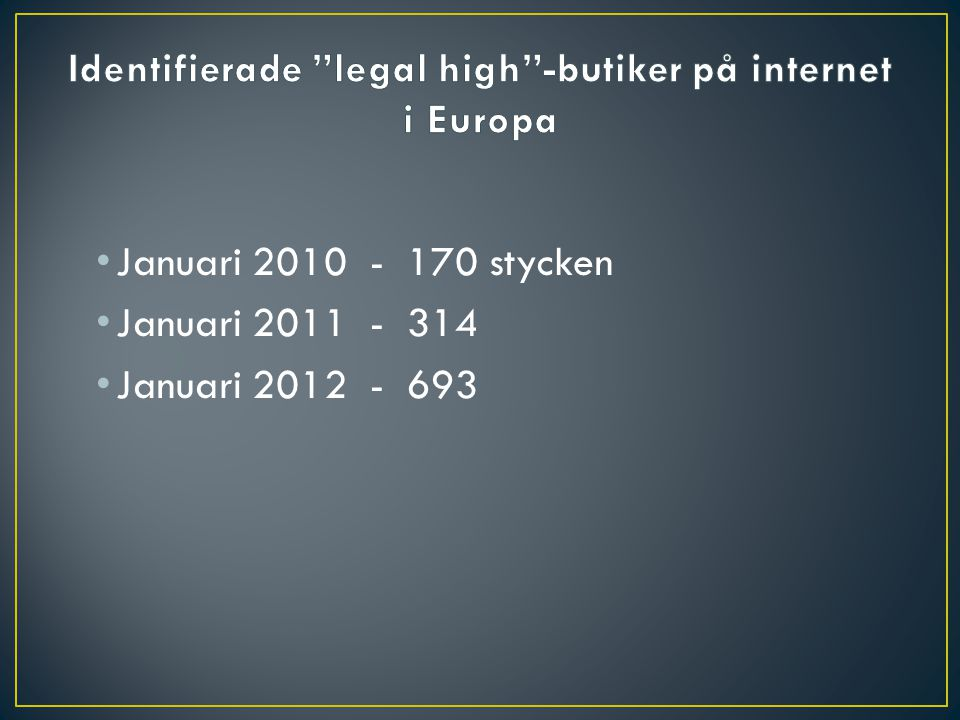 Identifierade legal high -butiker på internet i Europa