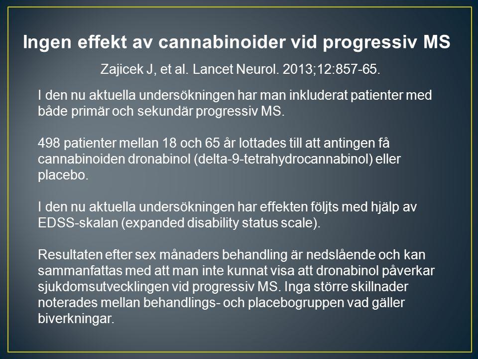 Ingen effekt av cannabinoider vid progressiv MS