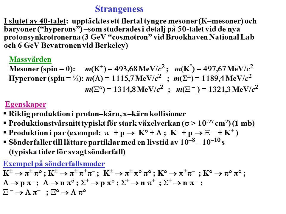 Hyperoner (spin = ½): m(L) = 1115,7 MeV/c2 ; m(S±) = 1189,4 MeV/c2
