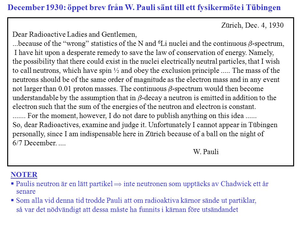 December 1930: öppet brev från W