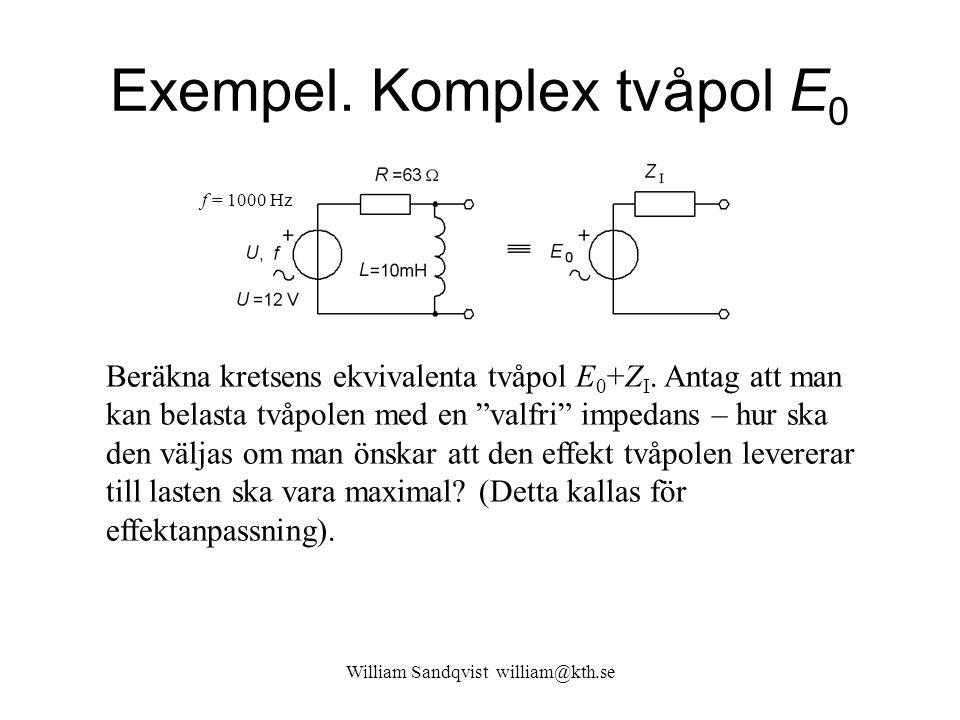Exempel. Komplex tvåpol E0