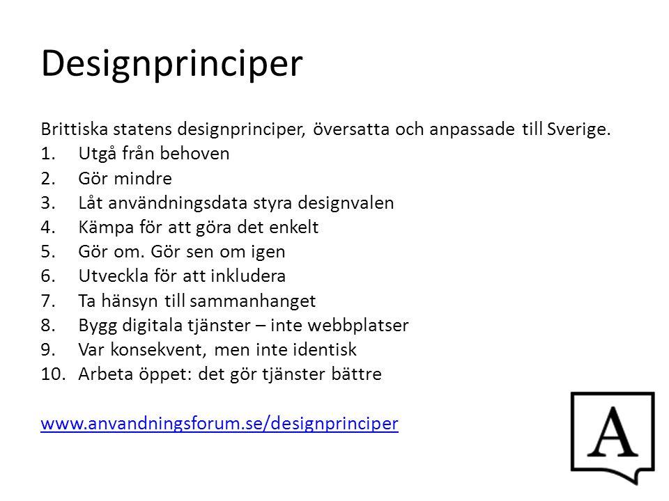 Designprinciper Brittiska statens designprinciper, översatta och anpassade till Sverige. Utgå från behoven.