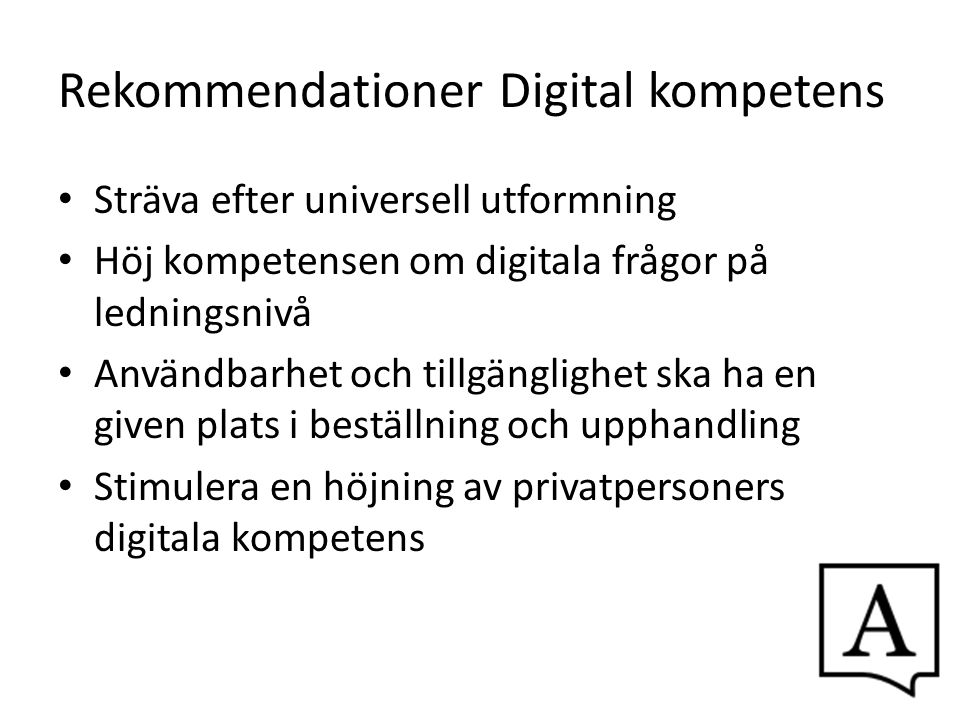Rekommendationer Digital kompetens