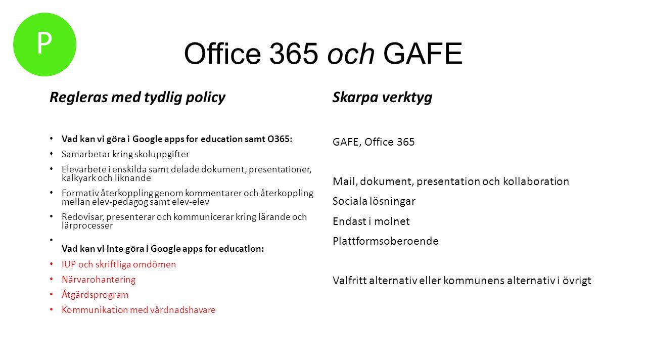 P Office 365 och GAFE Regleras med tydlig policy Skarpa verktyg