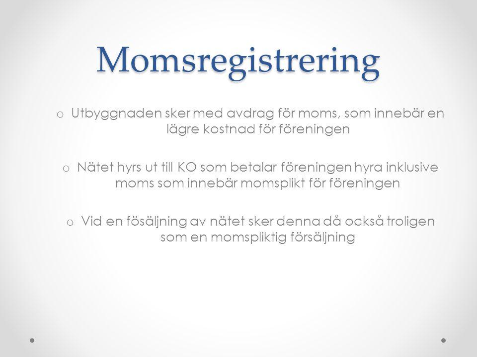 Momsregistrering Utbyggnaden sker med avdrag för moms, som innebär en lägre kostnad för föreningen.