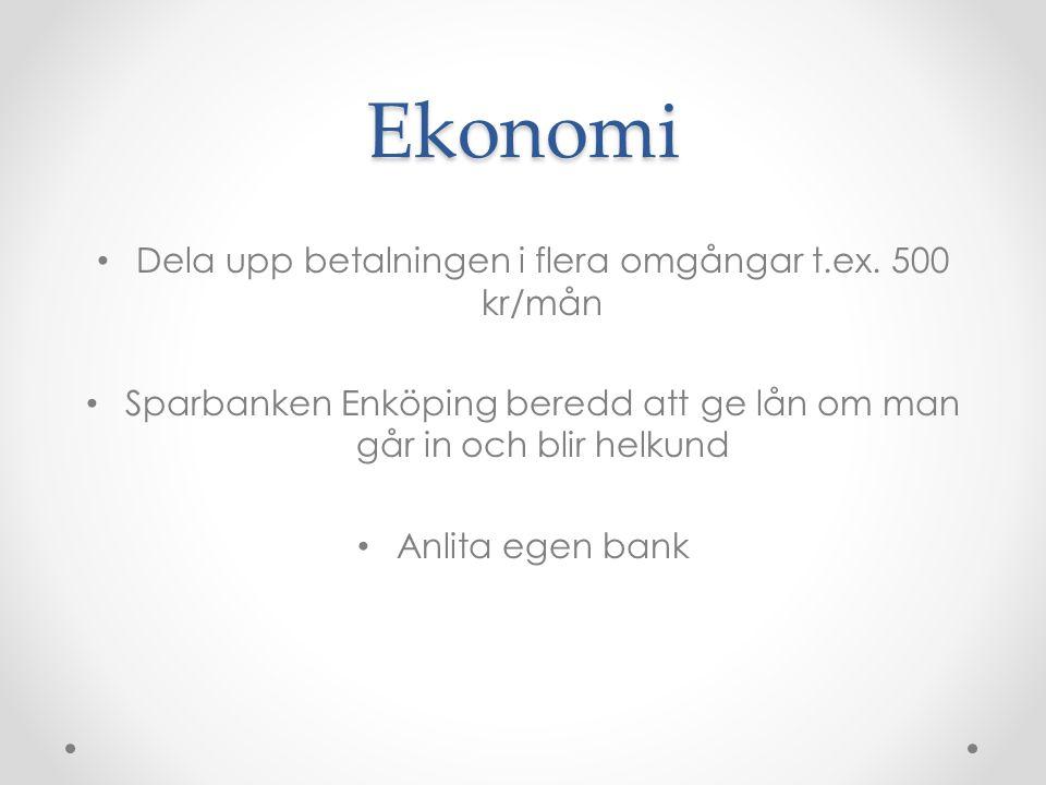 Ekonomi Dela upp betalningen i flera omgångar t.ex. 500 kr/mån