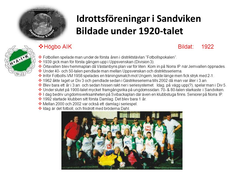 Idrottsföreningar i Sandviken Bildade under 1920-talet