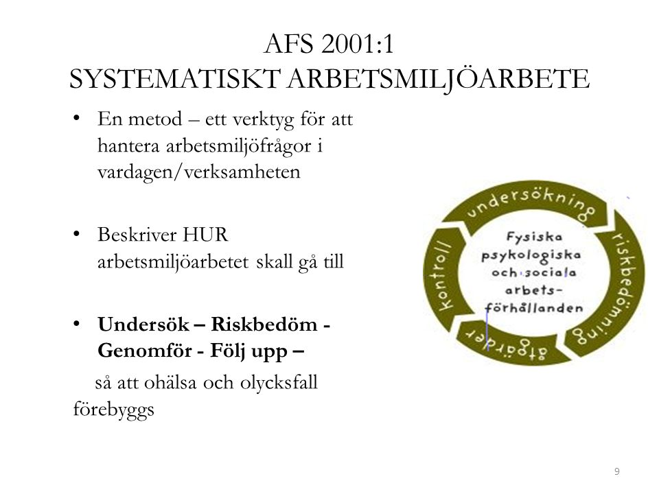 AFS 2001:1 SYSTEMATISKT ARBETSMILJÖARBETE