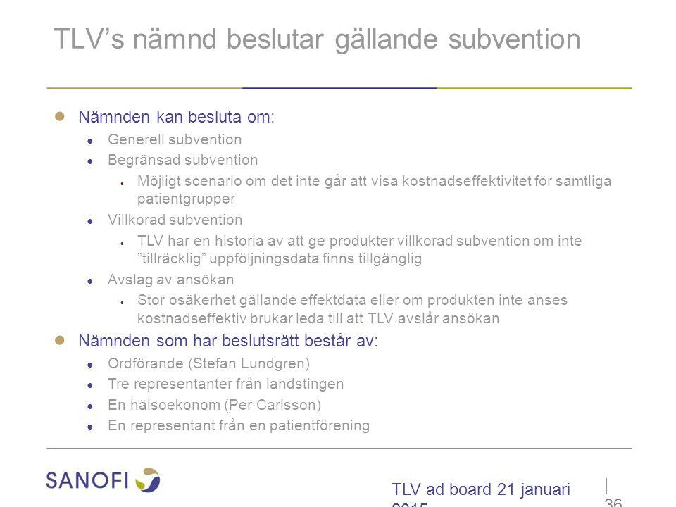 TLV's nämnd beslutar gällande subvention
