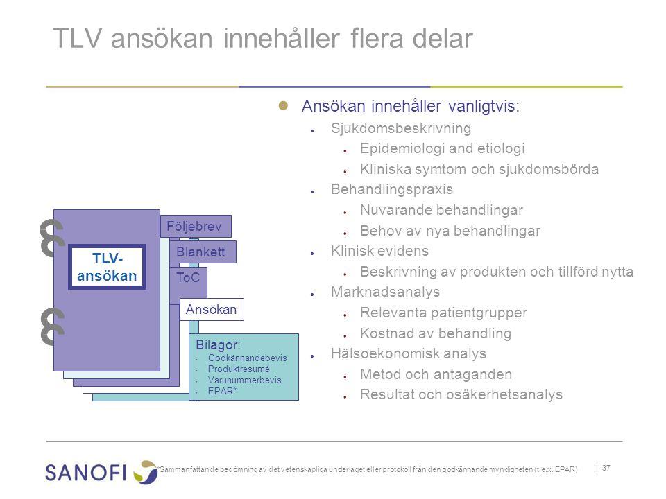 TLV ansökan innehåller flera delar