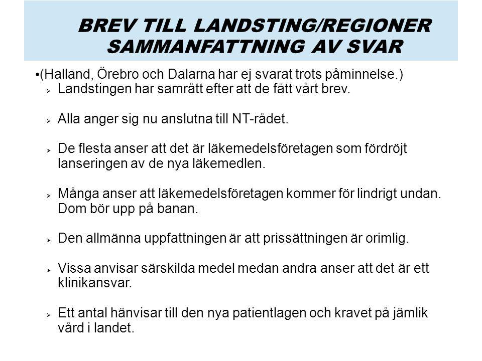 BREV TILL LANDSTING/REGIONER SAMMANFATTNING AV SVAR