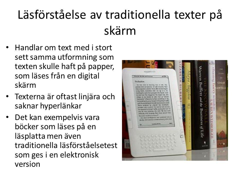 Läsförståelse av traditionella texter på skärm