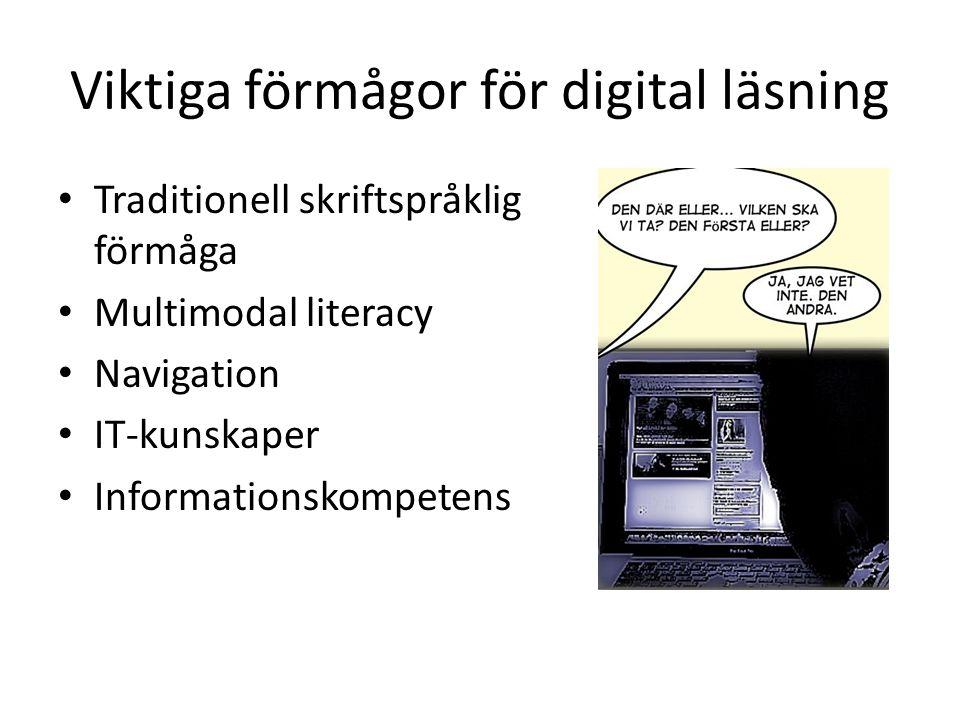 Viktiga förmågor för digital läsning