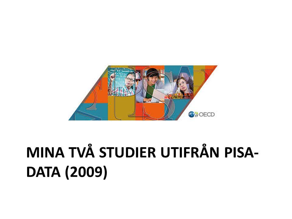 Mina två studier utifrån Pisa-data (2009)