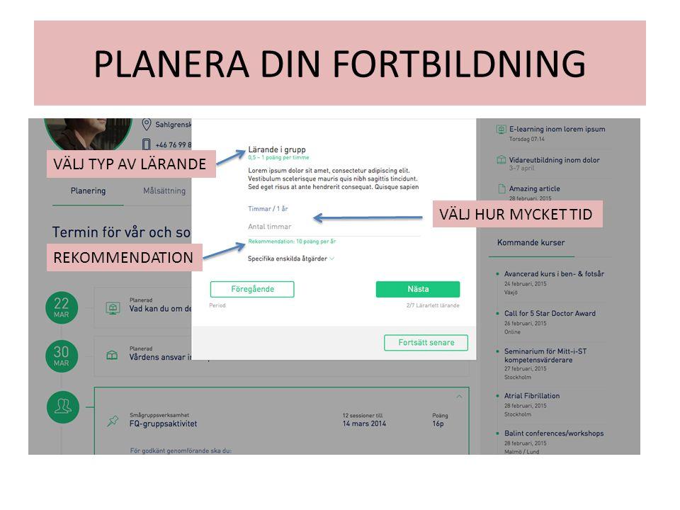 PLANERA DIN FORTBILDNING