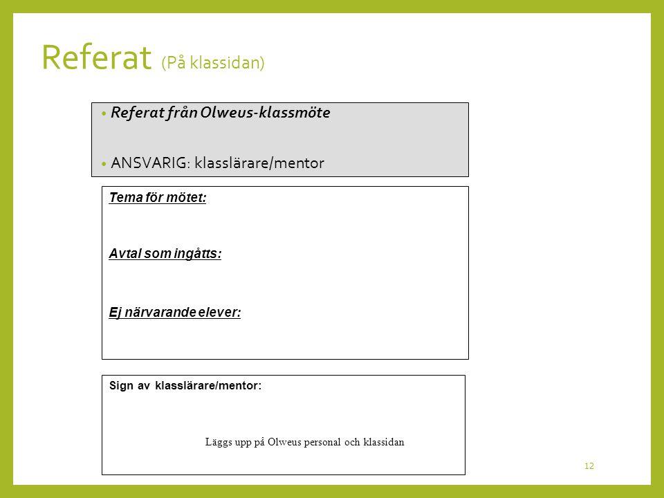 Referat (På klassidan)