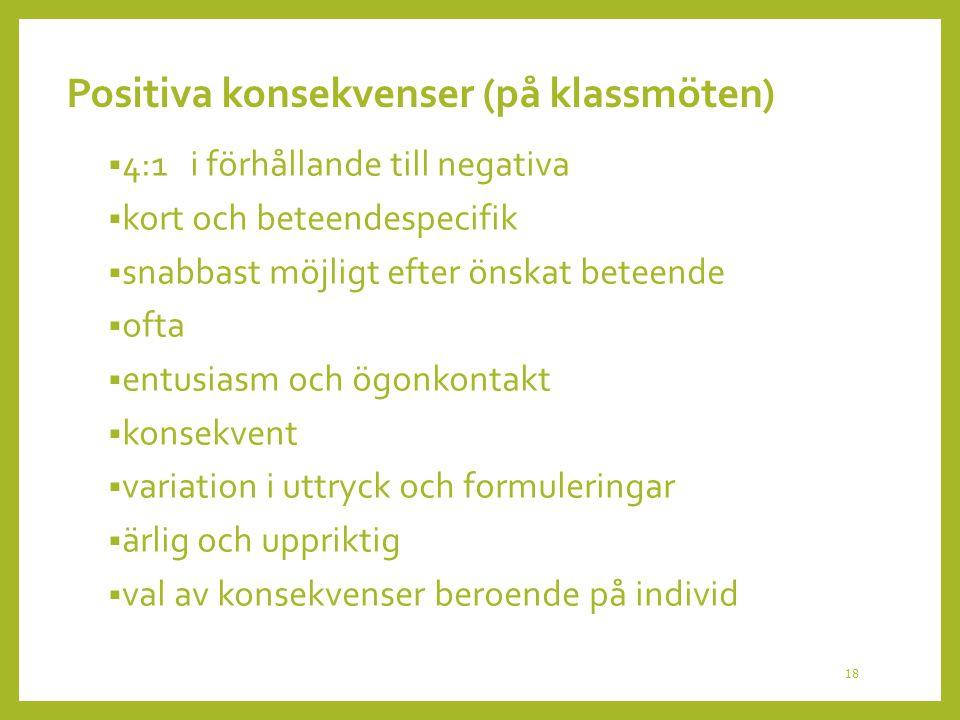Positiva konsekvenser (på klassmöten)