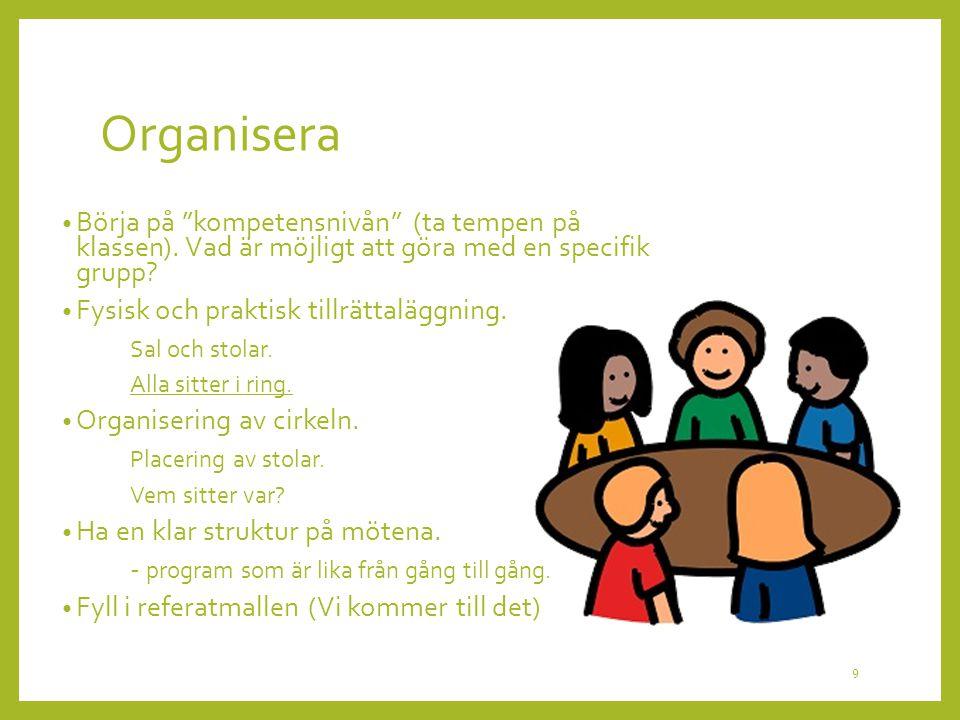 Organisera Börja på kompetensnivån (ta tempen på klassen). Vad är möjligt att göra med en specifik grupp