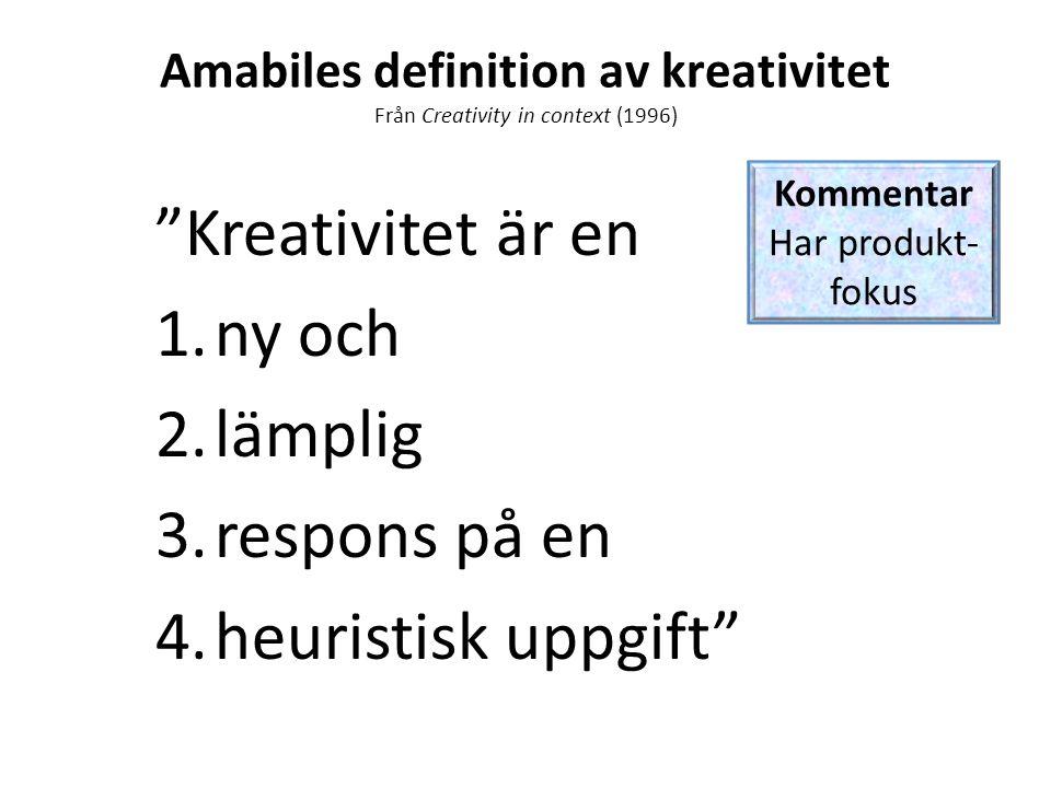 Amabiles definition av kreativitet Från Creativity in context (1996)