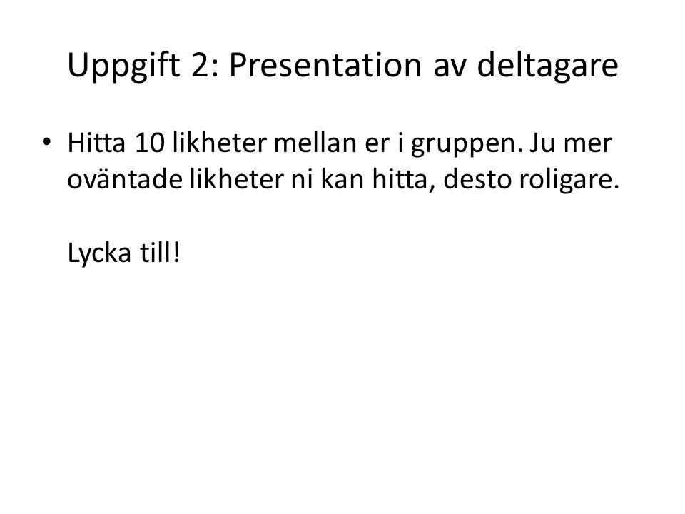 Uppgift 2: Presentation av deltagare