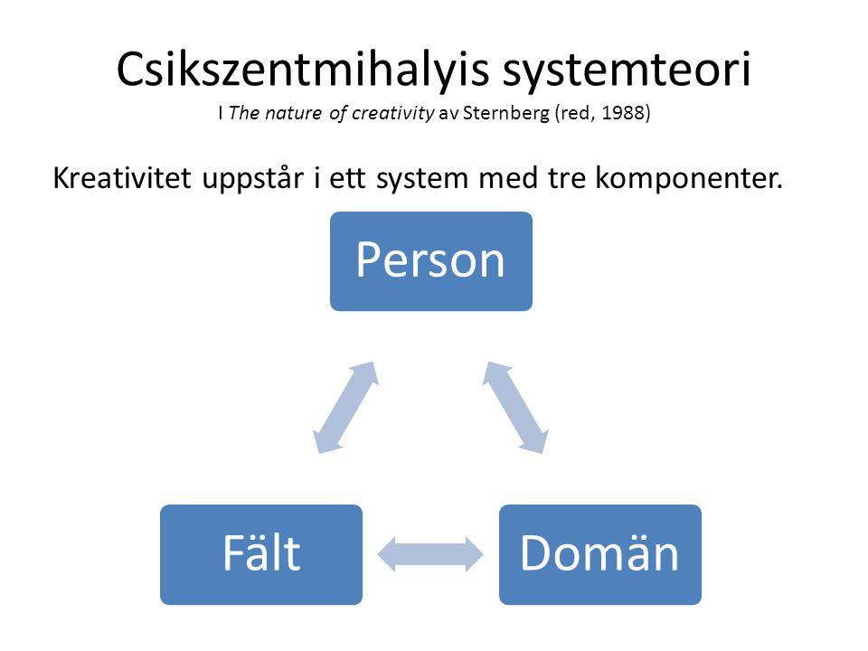 Csikszentmihalyis systemteori I The nature of creativity av Sternberg (red, 1988)