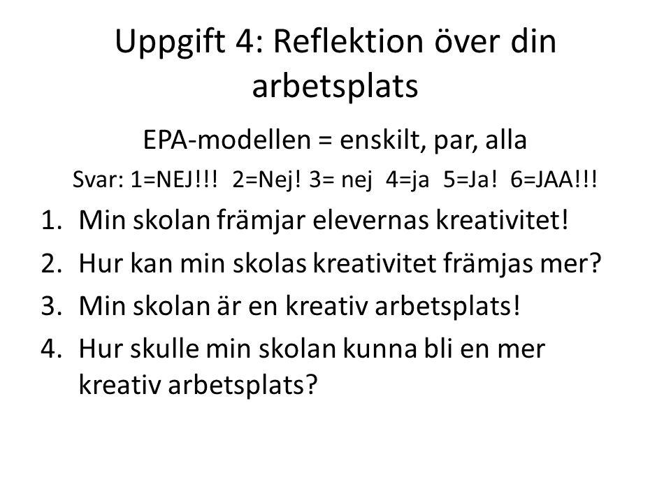 Uppgift 4: Reflektion över din arbetsplats