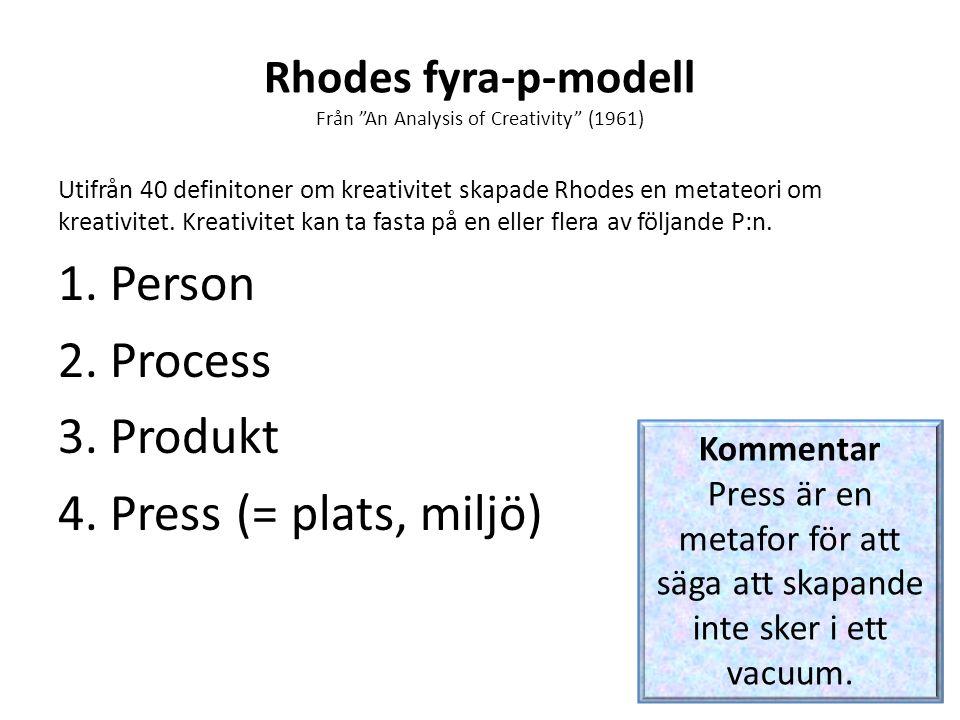 Rhodes fyra-p-modell Från An Analysis of Creativity (1961)