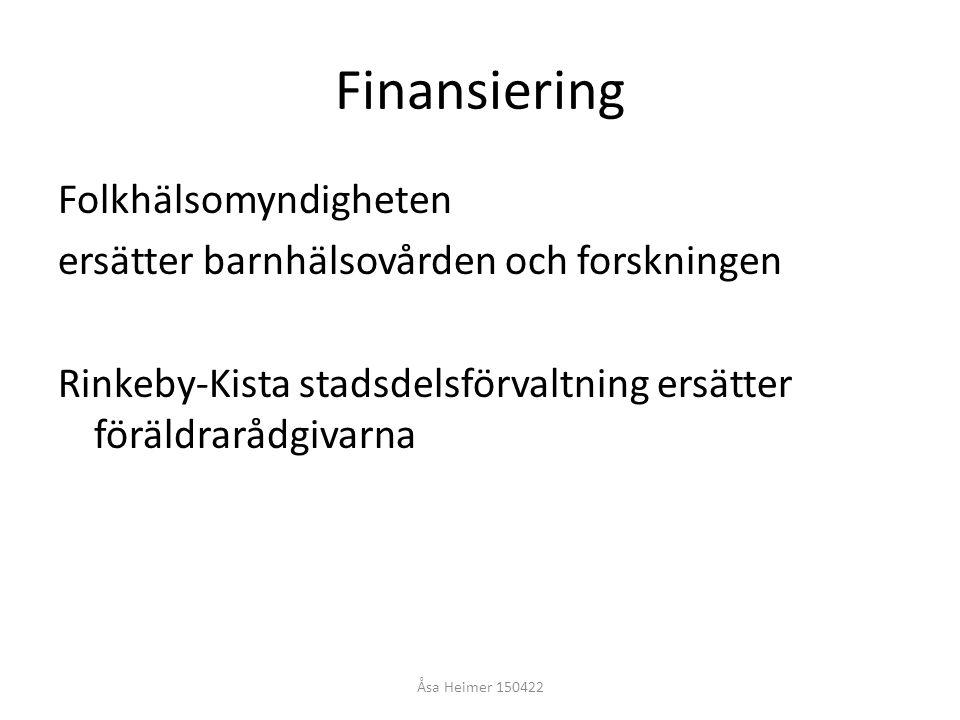 Finansiering Folkhälsomyndigheten ersätter barnhälsovården och forskningen Rinkeby-Kista stadsdelsförvaltning ersätter föräldrarådgivarna