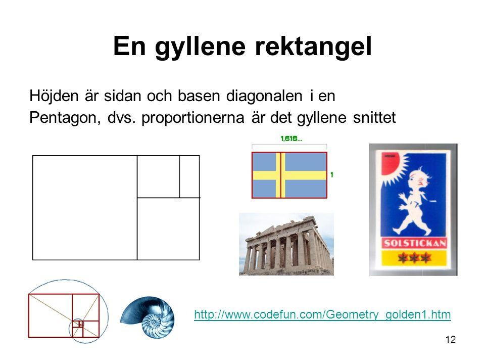 En gyllene rektangel Höjden är sidan och basen diagonalen i en