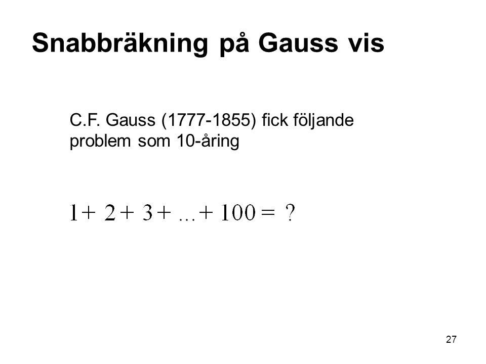 Snabbräkning på Gauss vis