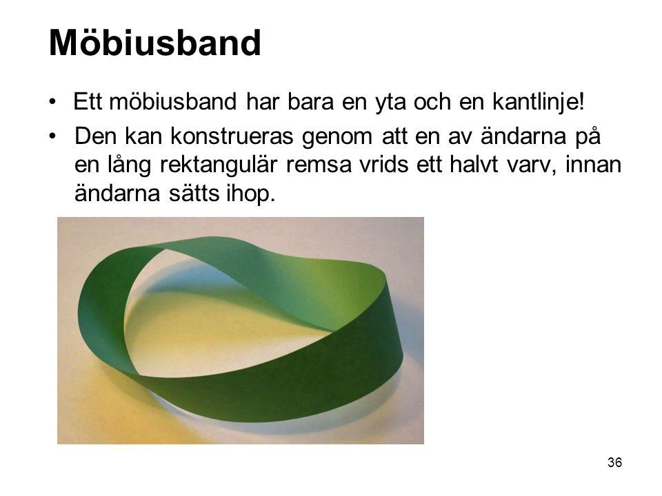 Möbiusband Ett möbiusband har bara en yta och en kantlinje!