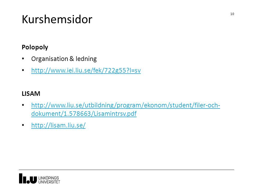 Kurshemsidor Polopoly Organisation & ledning