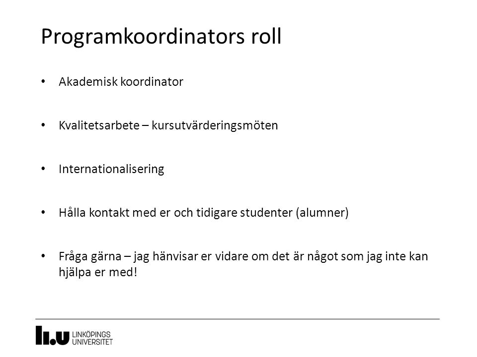 Programkoordinators roll