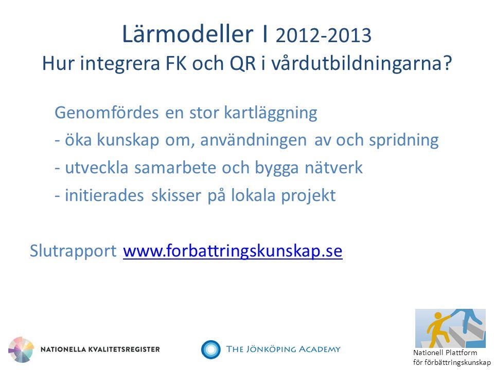 Lärmodeller I 2012-2013 Hur integrera FK och QR i vårdutbildningarna