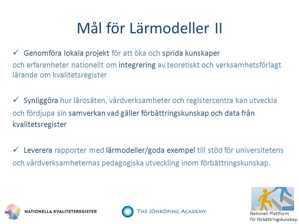Mål för Lärmodeller II Genomföra lokala projekt för att öka och sprida kunskaper.