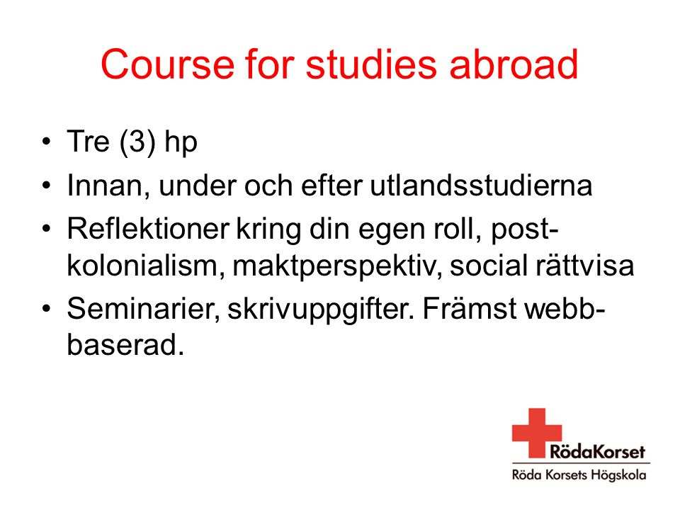 Course for studies abroad