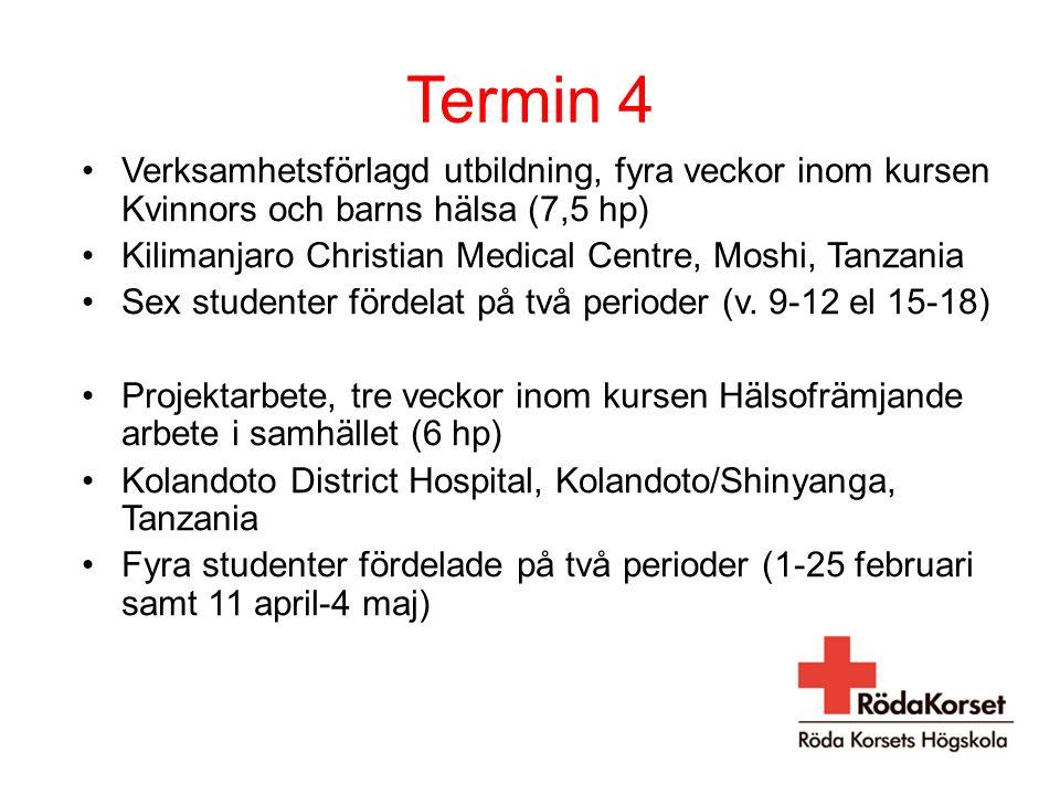 Termin 4 Verksamhetsförlagd utbildning, fyra veckor inom kursen Kvinnors och barns hälsa (7,5 hp)