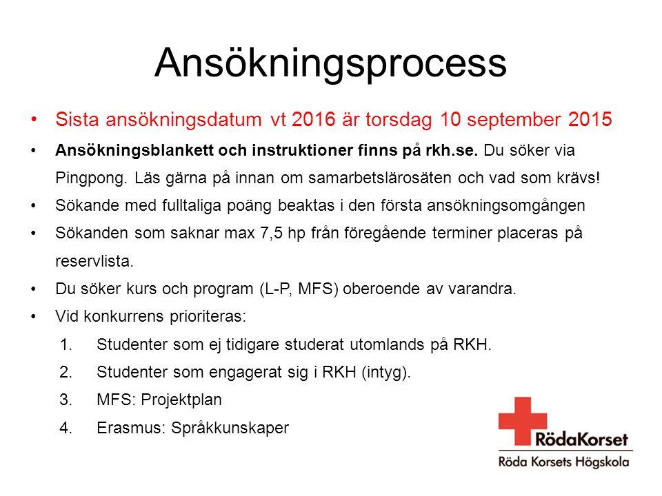 Ansökningsprocess Sista ansökningsdatum vt 2016 är torsdag 10 september 2015.