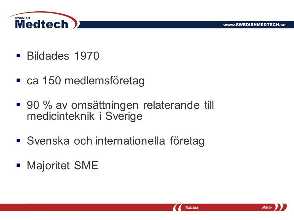 Bildades 1970 ca 150 medlemsföretag. 90 % av omsättningen relaterande till medicinteknik i Sverige.