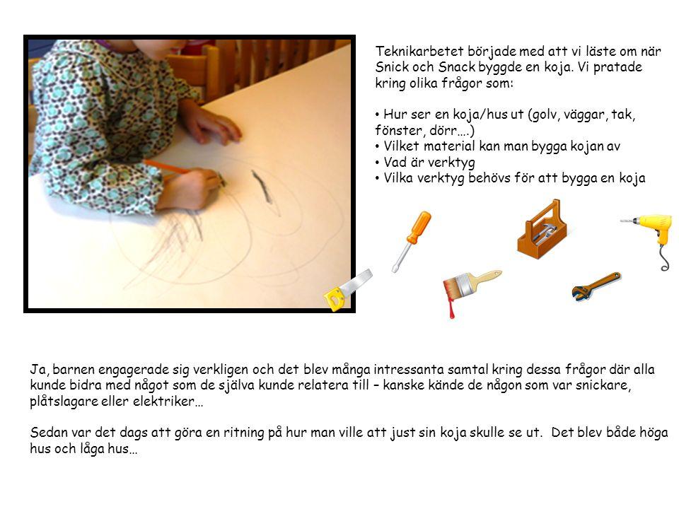 Teknikarbetet började med att vi läste om när Snick och Snack byggde en koja. Vi pratade kring olika frågor som:
