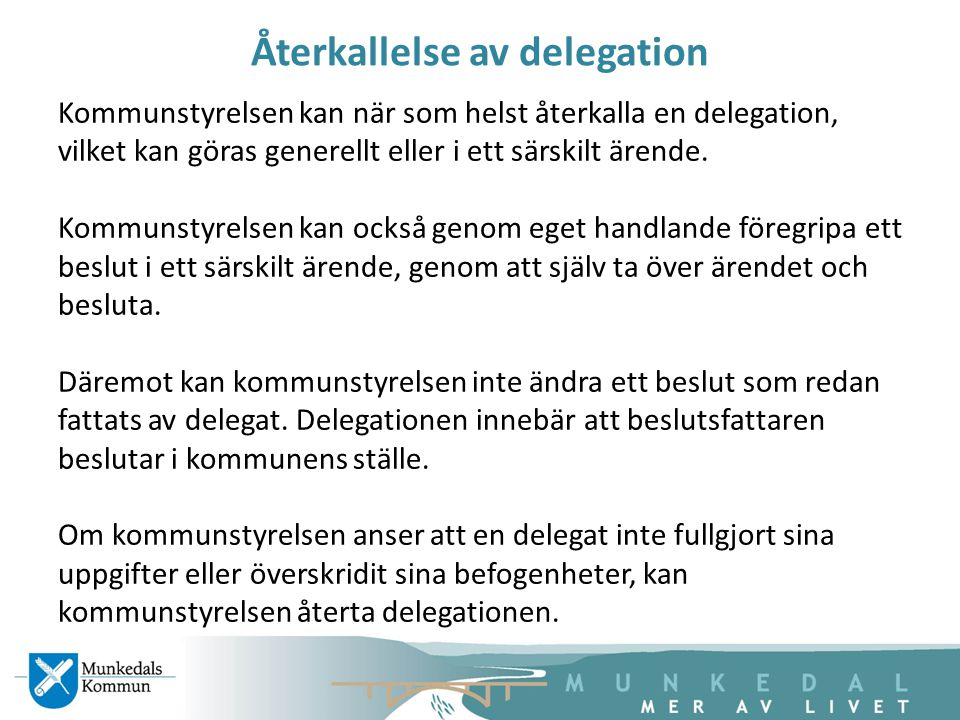 Återkallelse av delegation