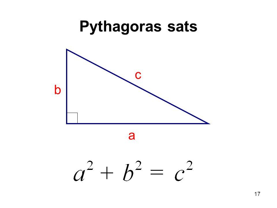 Pythagoras sats c a b