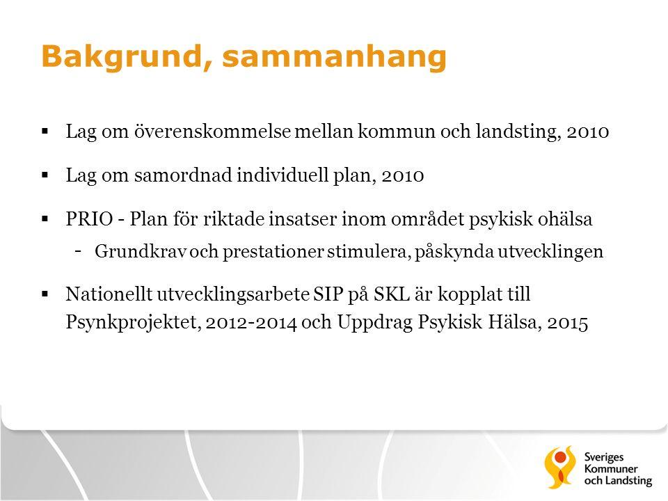 Bakgrund, sammanhang Lag om överenskommelse mellan kommun och landsting, 2010. Lag om samordnad individuell plan, 2010.
