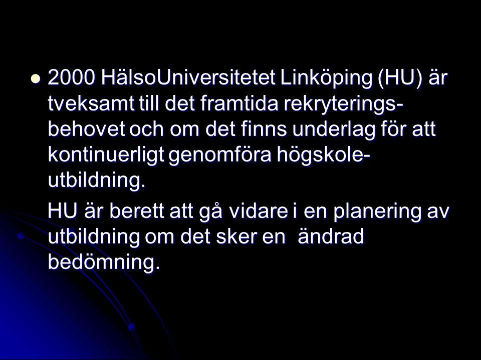 2000 HälsoUniversitetet Linköping (HU) är tveksamt till det framtida rekryterings-behovet och om det finns underlag för att kontinuerligt genomföra högskole-utbildning.