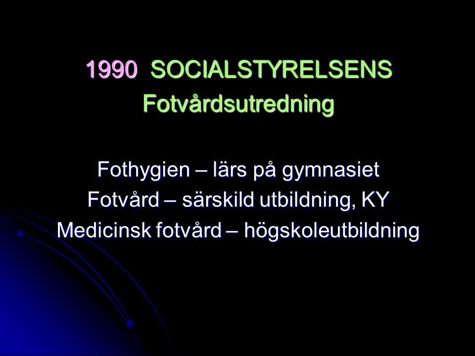 1990 SOCIALSTYRELSENS Fotvårdsutredning Fothygien – lärs på gymnasiet