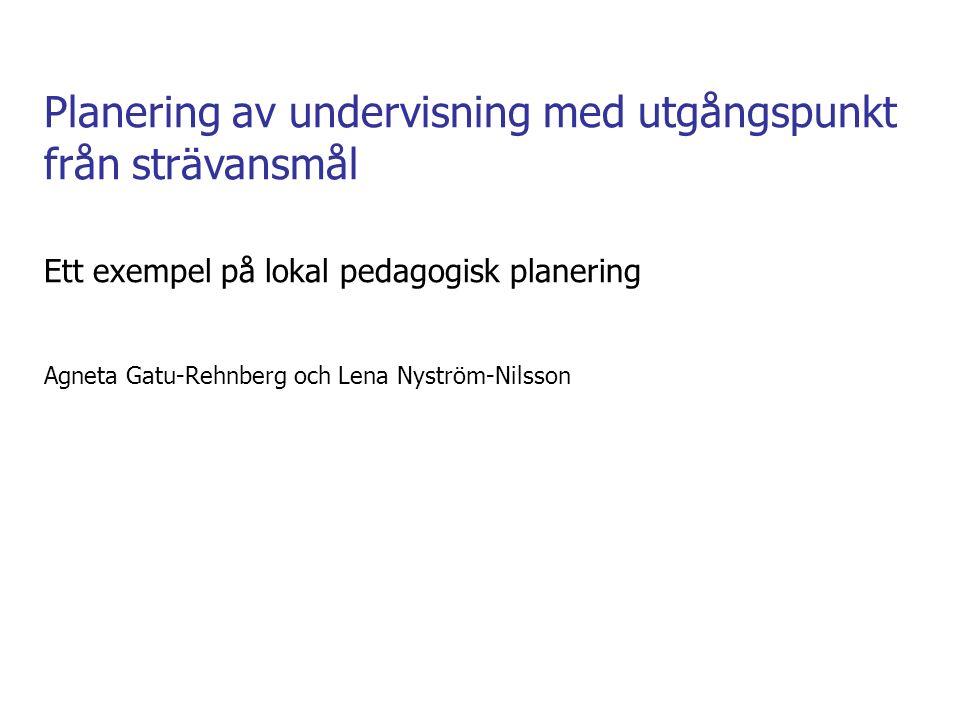 Planering av undervisning med utgångspunkt från strävansmål