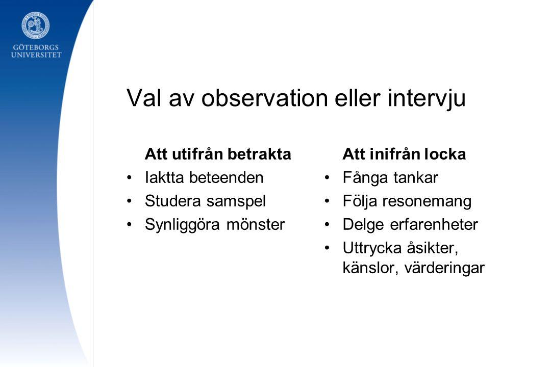 Val av observation eller intervju