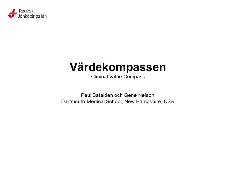 Värdekompassen Clinical Value Compass Paul Batalden och Gene Nelson Dartmouth Medical School, New Hampshire, USA
