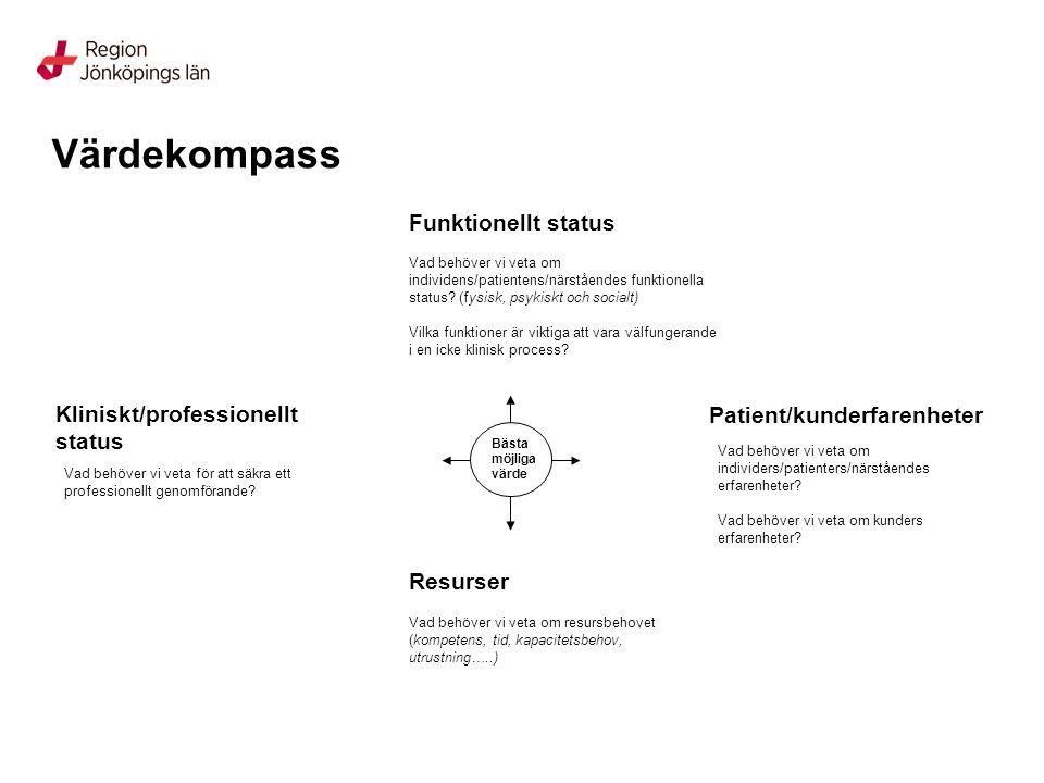Värdekompass Funktionellt status Kliniskt/professionellt status